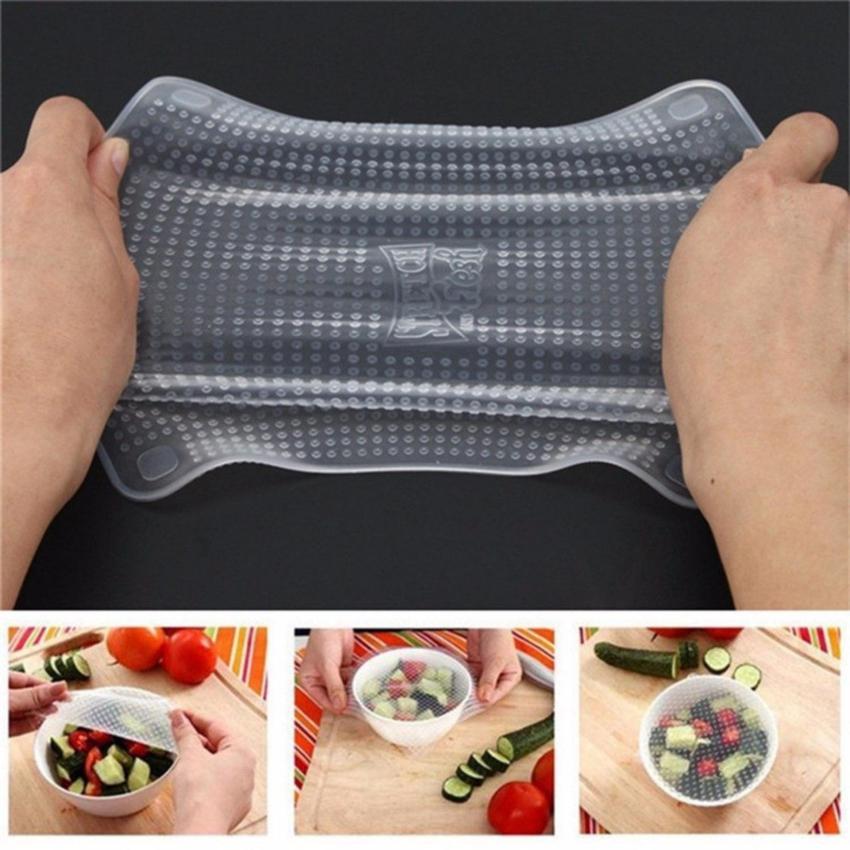 Bộ 4 miếng màng bọc thực phẩm Silicon cao cấp Stretch and Fresh 4 in 1