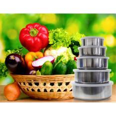Bộ 5 bát inox có nắp đậy để tủ lạnh siêu tiện lợi và an toàn cho thực phẩm