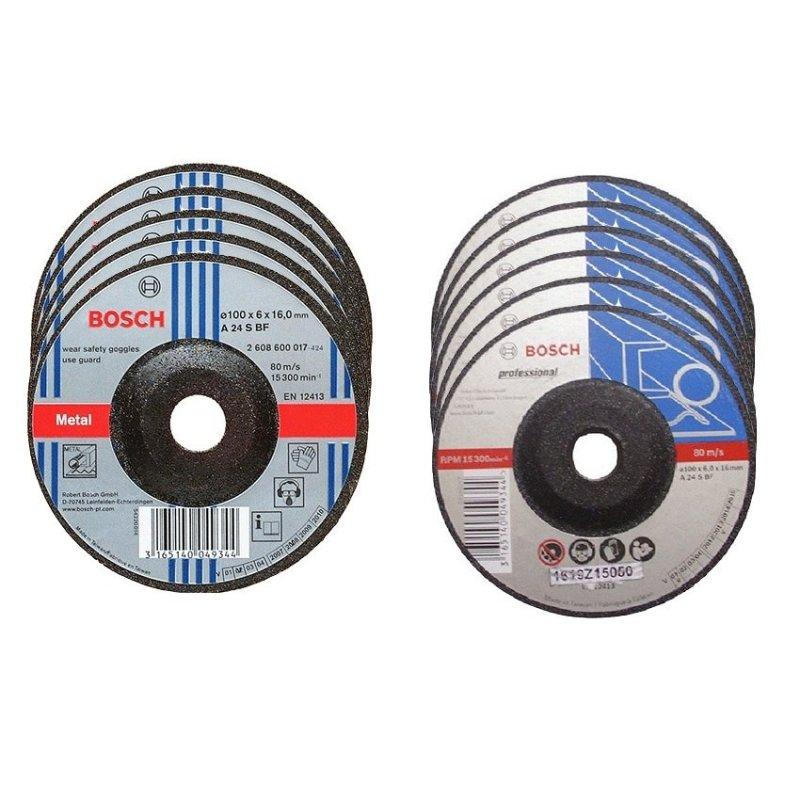 Bộ 5 đĩa cắt 2 x100 và 5 Đĩa mài 6 x 100 Bosch (Đen)