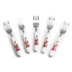 Bộ 5 nĩa inox cán sứ