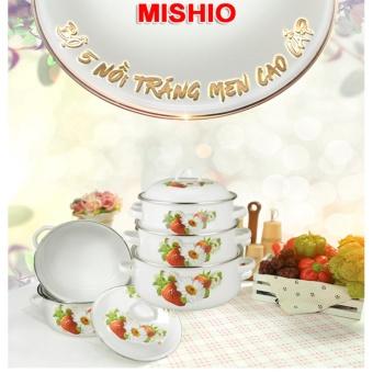 Bộ 5 Nồi Tráng Men Cao Cấp Mishio + Tặng nồi cơm điện 1.2 lít