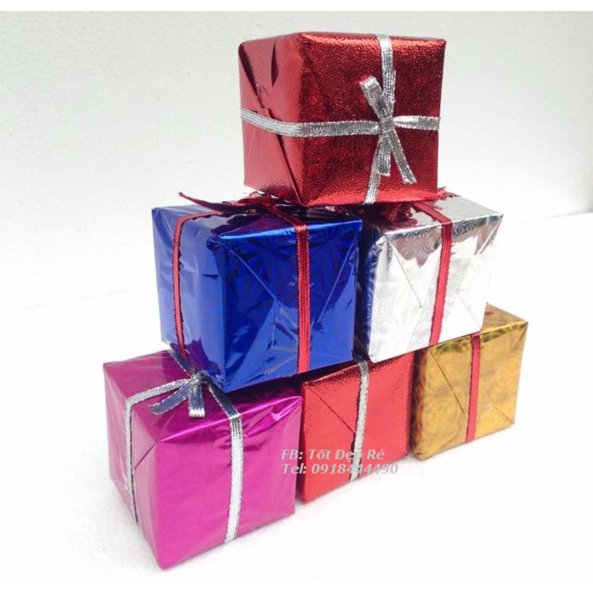 Giảm giá Bộ 6 Hộp quà vuông gắn cây thông Noel trang trí Giáng Sinh