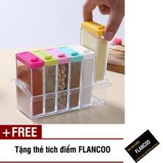 Bộ 6 hũ đựng gia vị lớn Flancoo S0991 (Nhiều màu) + Tặng kèm thẻ tích điểm Flancoo