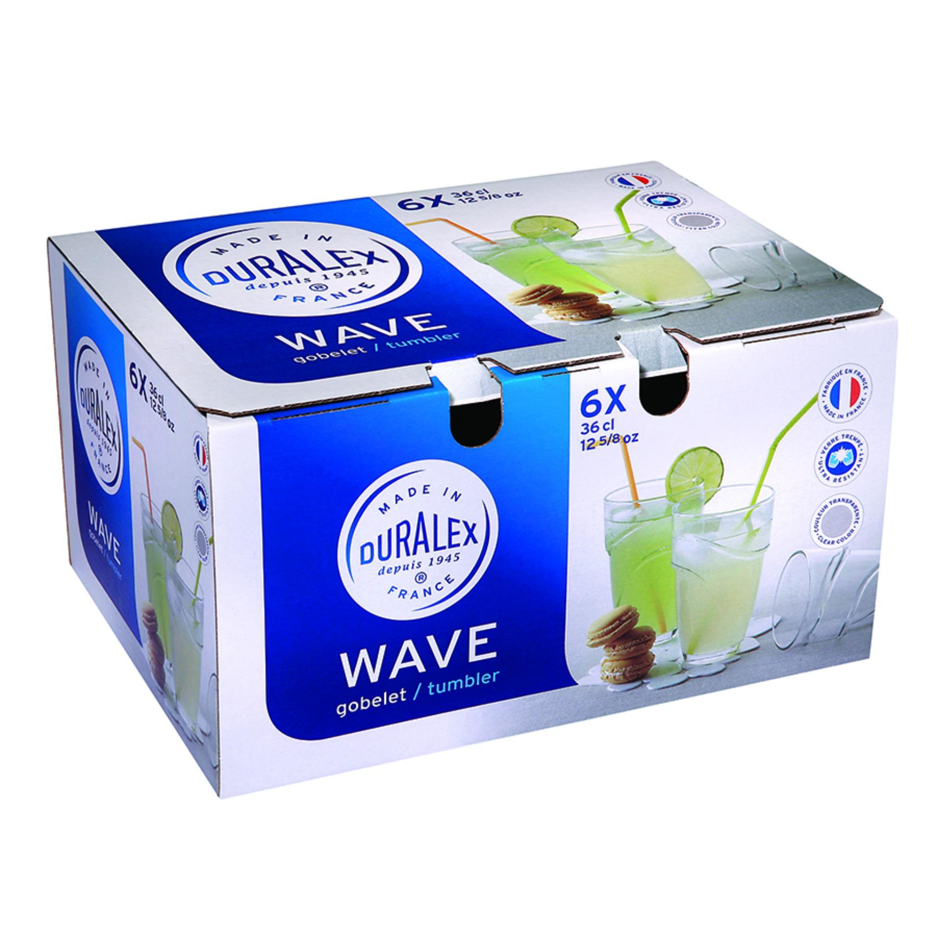 Bộ 6 Ly thuỷ tinh Wave Clear Tumbler DURALEX 360ml -1054AB06A0111