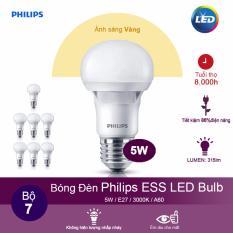 (Bộ 7) Bóng đèn Philips ESS LEDBulb 5W 3000K đuôi E27 230V A60 – Ánh sáng vàng