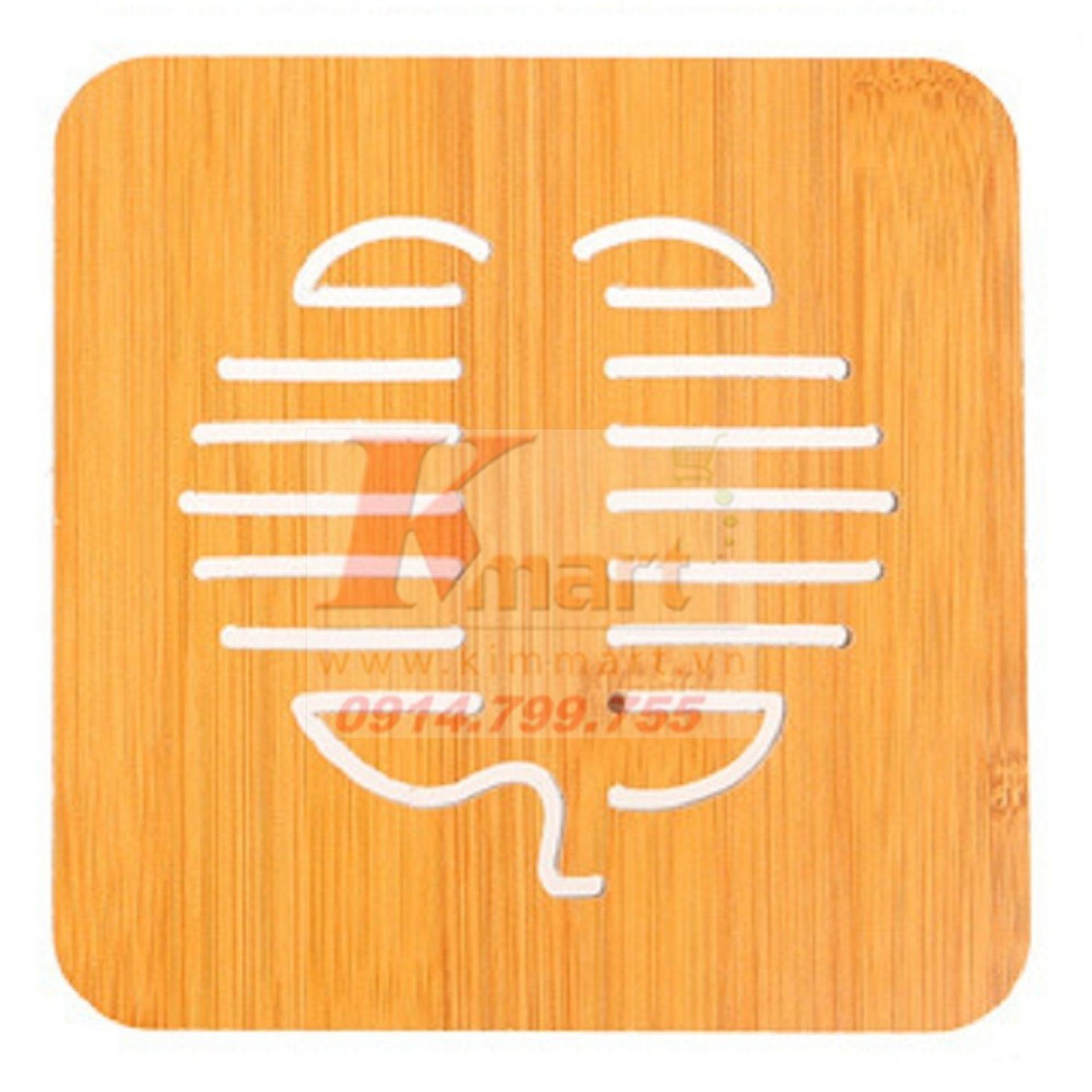 BỘ 8 Tấm đế tre lót cách nhiệt cho xoong, nồi, bát đĩa hoa văn hình quả (cỡ to)