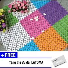 Bộ 9 tấm thảm ghép nối nhà tắm chống trơn trượt Latoma 0995 (Cam) + Tặng kèm thẻ ưu đãi Latoma
