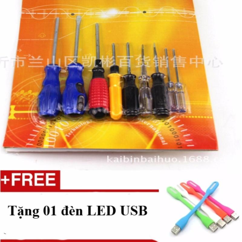 Bảng giá Bộ 9 tuốc nơ vít thép cực tốt phổ biến nhất thị trường + Tặng 01 đèn Led USB