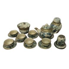 Bộ ấm chén men rạn cổ, bọc đồng, hình sơn thủy ,ấm quả đào Ngoi nha gom su NNGS70 (Men cổ)