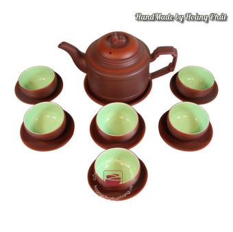 Bộ ấm chén trà Tử sa dáng Trống, men lòng xanh ngọc bích SP88