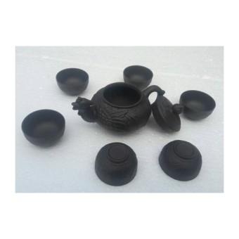 Bộ ấm chén uống trà gốm tử sa hình chim Phượng Hoàng ( nâu đen)