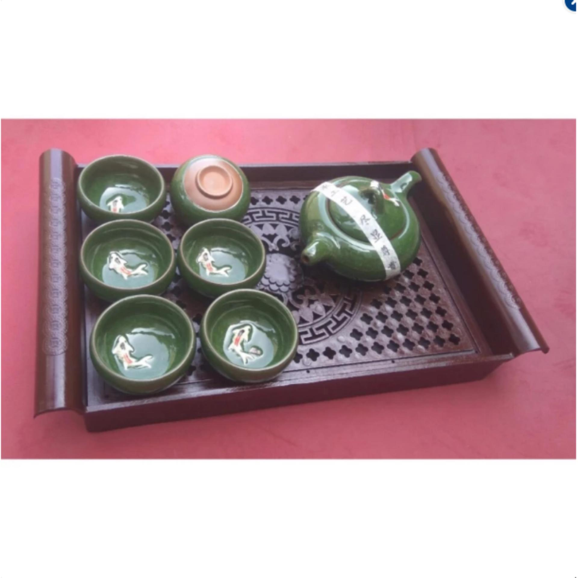 Bộ ấm chén uống trà cá 3D men xanh ngọc + Tặng kèm 01 khay trà giả cổ