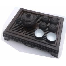 Bộ ấm chén và khay trà TỬ SA hình rồng nâu đen HB16