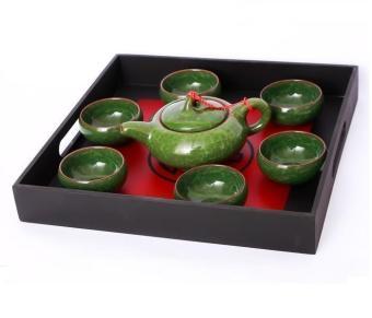 Bộ ấm trà gốm sứ 3D cao cấp ichibai (Xanh đá)