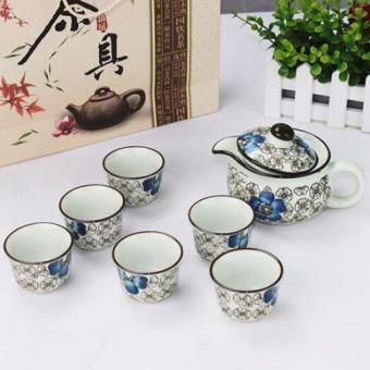 Bộ ấm trà hoa văn cổ hàng xuất Nhật (Xanh dương nhạt)