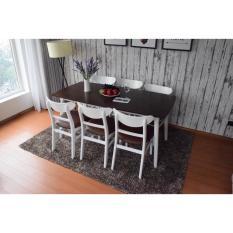 Bộ bàn ăn DANISH TRẮNG NÂU 6 ghế