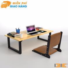 Bộ bàn bệt Rec-B chân đen mặt tự nhiên và ghế Pisu gấp gọn