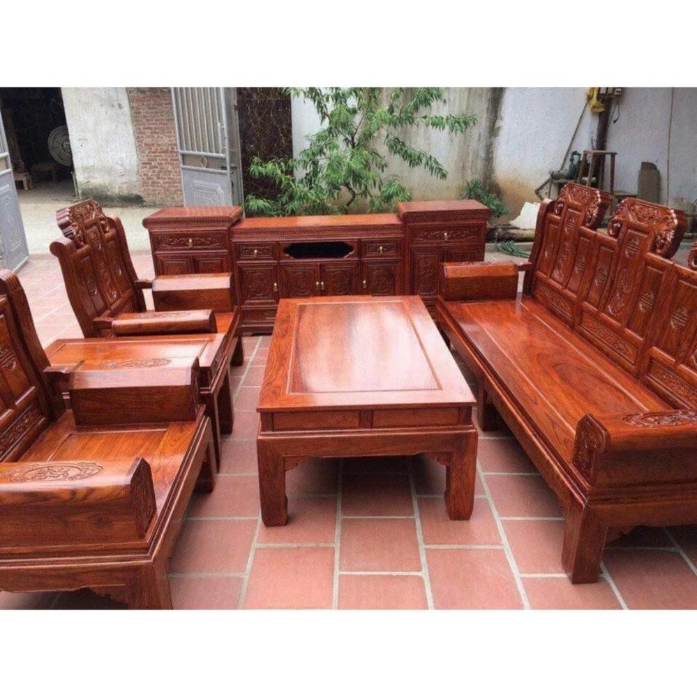 Bộ bàn ghế Âu á Tay Hộp – Gỗ Hương vân