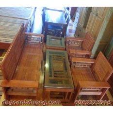 Bộ bàn ghế salon gỗ sồi tự nhiên tay 12 AD màu cánh gián