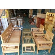 Bộ bàn ghế salon gỗ sồi tự nhiên tay 12 mẫu trống đồng