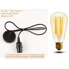 Trang bán Bộ bóng đèn led 4w Edison trang trí nghệ thuật và dây thả đèn màu đen