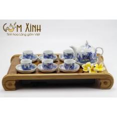 Bộ trà sứ bát tràng – Bộ ấm chén sứ dáng bưởi men lam cổ