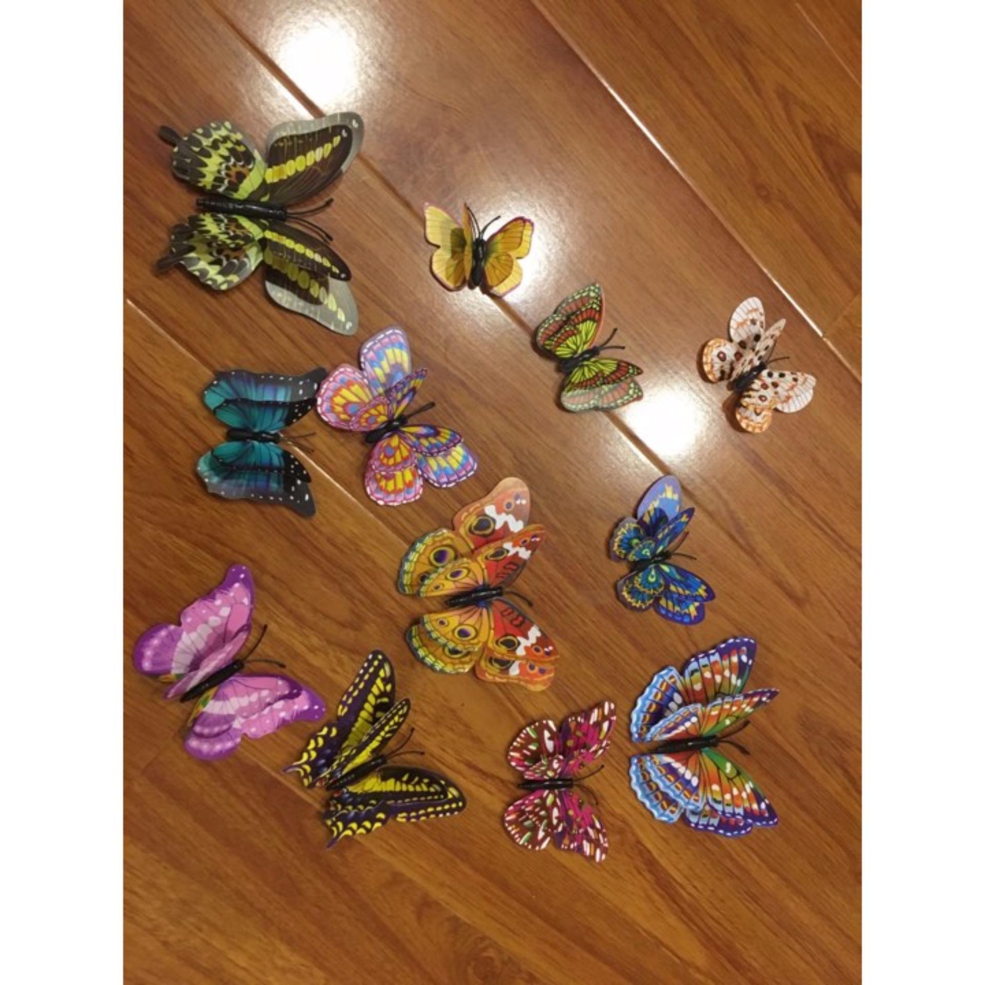 Chỗ nào bán Bộ bướm 3D 2 tầng có nam châm đủ màu có chấm trắng-12 con