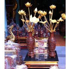 Bộ cả lọ lục bình và hoa sen gỗ mít phun PU