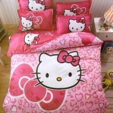 Bộ chăn ga gối Mèo hồng.