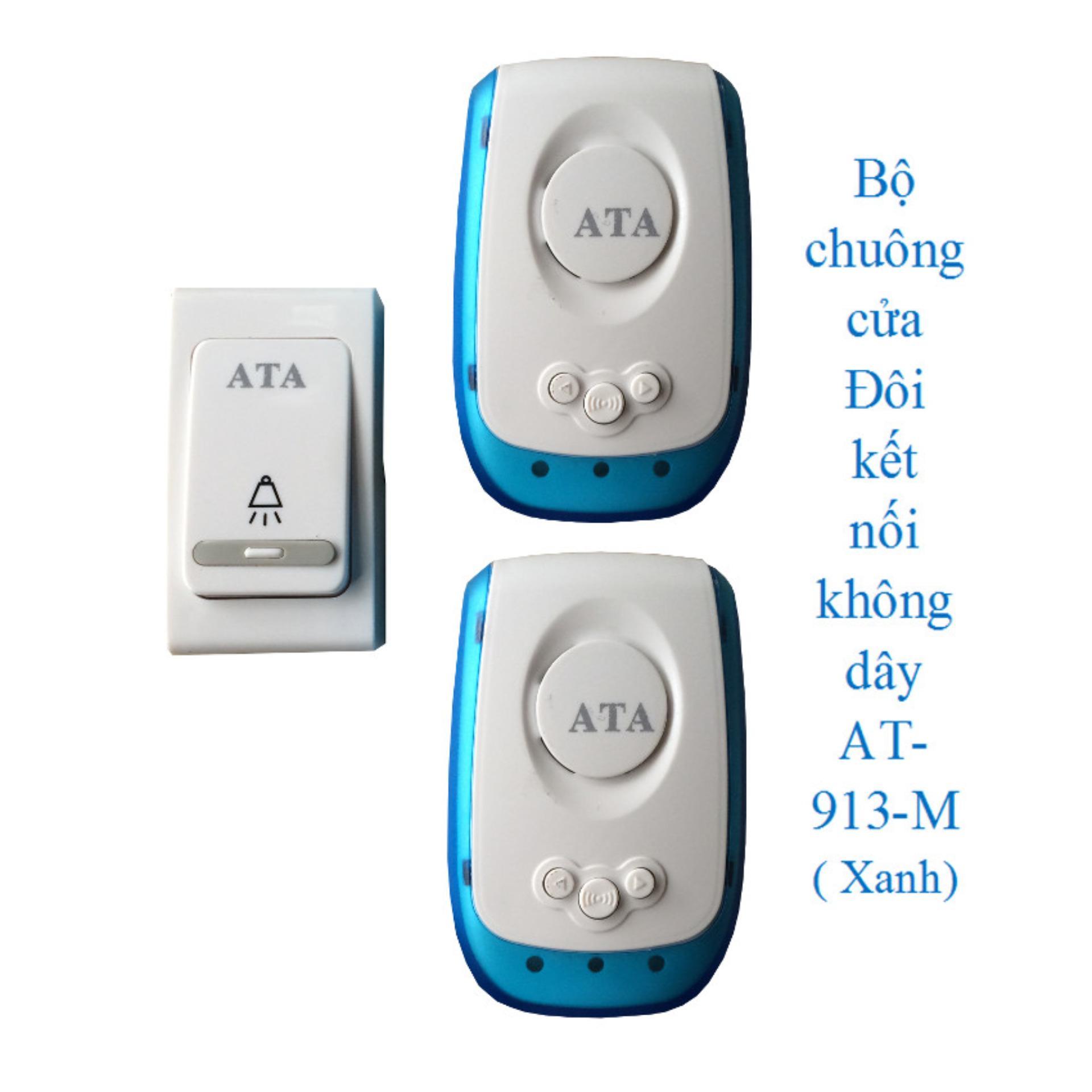 Giá Khuyến Mại Bộ chuông Đôi gọi cửa kết nối không dây AT-913-M ( Xanh)