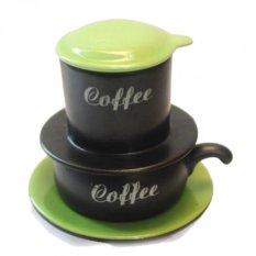 Bộ cốc cà phê liền phin sứ gốm sứ Bát Tràng-01(Xanh đen)