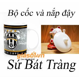Bộ cốc uống nước + nắp hình câu lạc bộ bóng đá Juventus 1897 - 350ml Bát Tràng