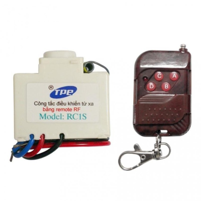 Bộ công tắc điều khiển từ xa sóng RF TPE RC1S + Remote RF vỏ vân gỗ R1VG315