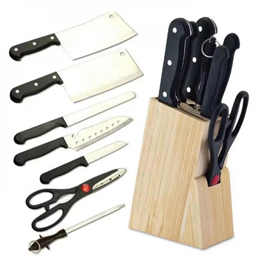 Hình ảnh Bộ dao hợp kim inox 7 món đa năng có hộp gỗ để dao(Đen)