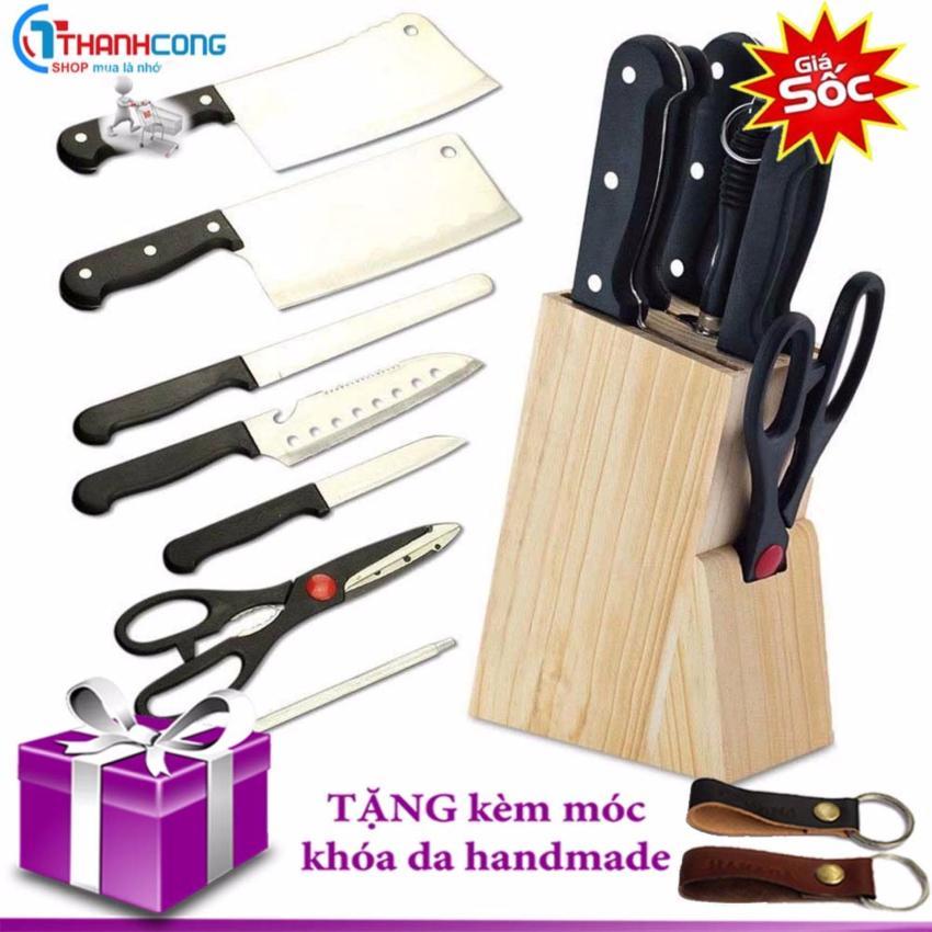 Hình ảnh Bộ dao kéo nhà bếp 7 món thép không gỉ kèm kệ cài tiện dụng(tặng móc)