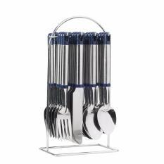 Bộ dụng cụ bàn ăn 24 món inox cao cấp xanh – 9818X
