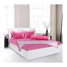 Bộ drap bọc Hometex màu hồng 1m6