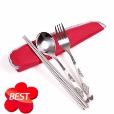 Bộ dụng cụ ăn 3 món tiện dụng túi zipper đỏ