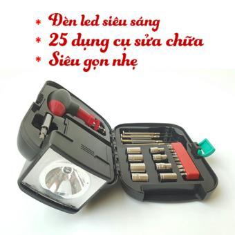 Bộ dụng cụ sửa chữa 25 món kèm đèn pin siêu sáng