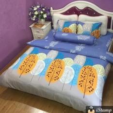 Bộ ga bọc và gối cotton poly Lá cọ ( tặng kèm áo gối ôm 35×100)