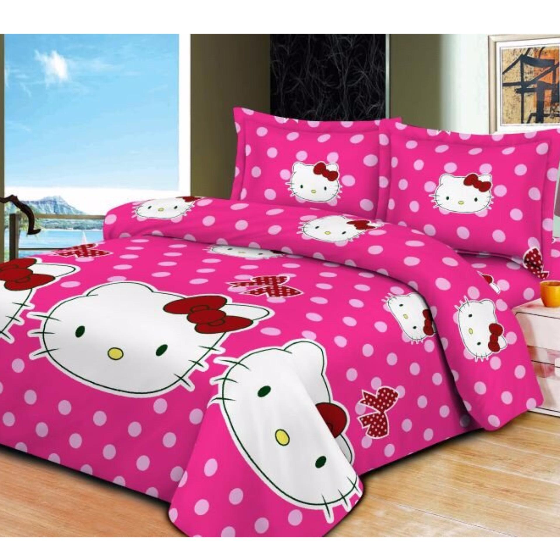 Bộ ga giường và 2 áo gối kitty Bi Hồng kích thước 160x200