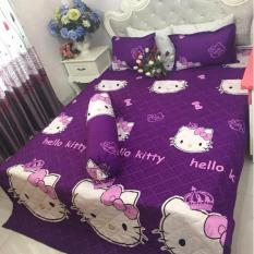 Bộ ga giường và 2 áo gối kitty Vương miện Tím (kích thước 180×200)