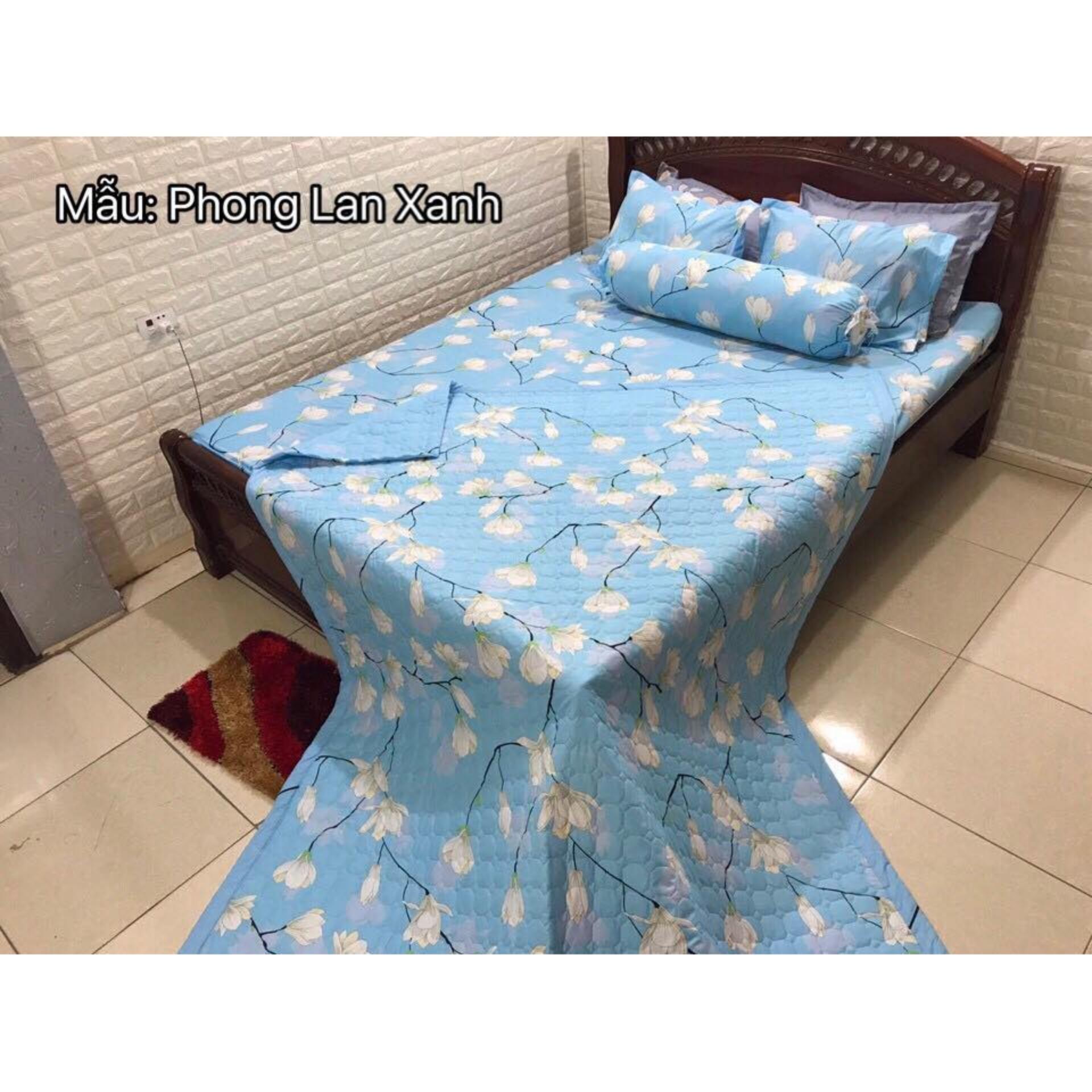 Địa Chỉ Bán Bộ ga gối poly cotton phong lan xanh m6/m8