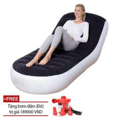 Bộ ghế hơi tựa lưng tặng kèm bơm điện tiện dụng PVC Flocked, Bộ ghế hơi massage tặng kèm bơm điện tiện dụng, thư giãn, Đệm Hơi Tựa Lưng Cao Cấp, Ghế Hơi Êm Ái