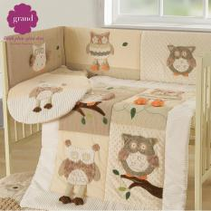 Bộ giường cũi 100% Cotton cao cấp GRAND BABY 01
