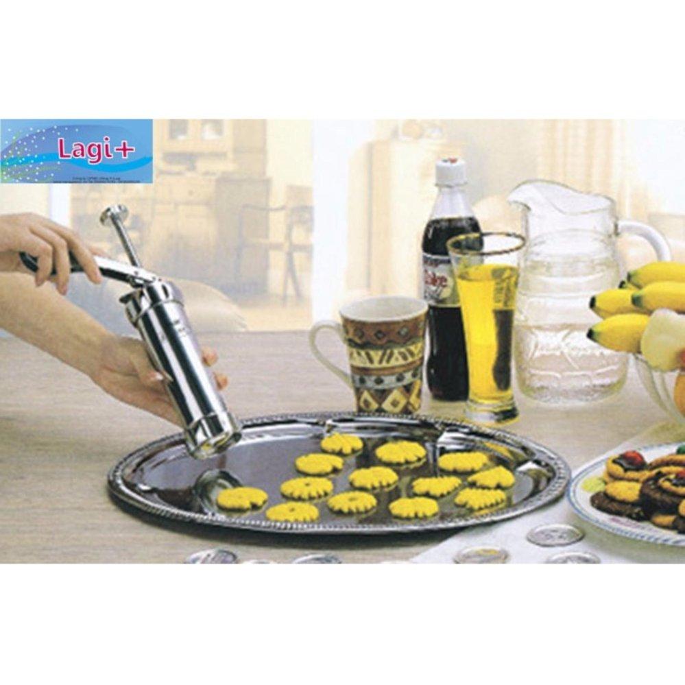 Bộ khuôn dụng cụ tạo kiểu bánh quy và bơm kem inox Biscuits (Bạc)