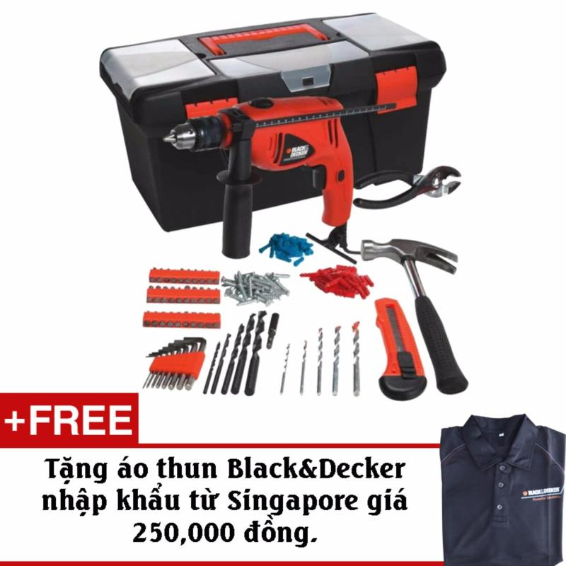 Bộ máy khoan 100 chi tiết Black&Decker-HD500 + Tặng kèm áo thun chính hãng Black&Decker