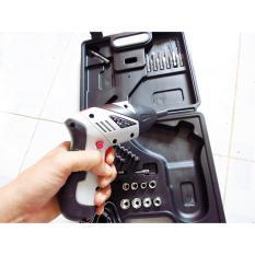 Bộ máy khoan và vặn ốc vít có sạc tích điện mini Flamme (Trắng phối đen)