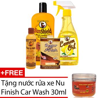 Bộ sản phẩm chăm sóc đồ gỗ Howard Wood Care HWCOM01 + Tặng nước rửaxe Nu Finish Car Wash 30ml