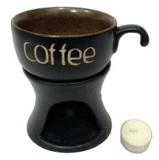 Bộ tách cà phê và chân lò Bát Tràng(Nâu đen)